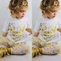 1-6A New Arrival Fox Branco T-shirt Da Menina Do Miúdo Das Crianças Das crianças crianças Roupas Meninas Calças Florais 2 pcs Outfits Roupas Definidos