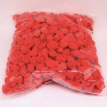 DIY 로즈 베어 3.5cm 화환 꽃 머리 화환 PE 폼 플라스틱 인공 장미 꽃 웨딩 공예 금형 500 개/몫