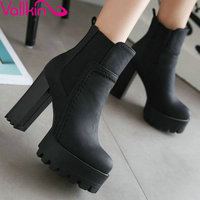 Black Punk Style Chunky High Heel Shoes Women Elastic Band Ankle Boots Round Toe Platform Ladies