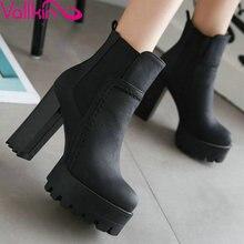 Vallkin в стиле панк туфли на толстом высоком каблуке Женские ботильоны с эластичными вставками круглый носок женские модные ботинки на платформе плюс Размеры 34–43