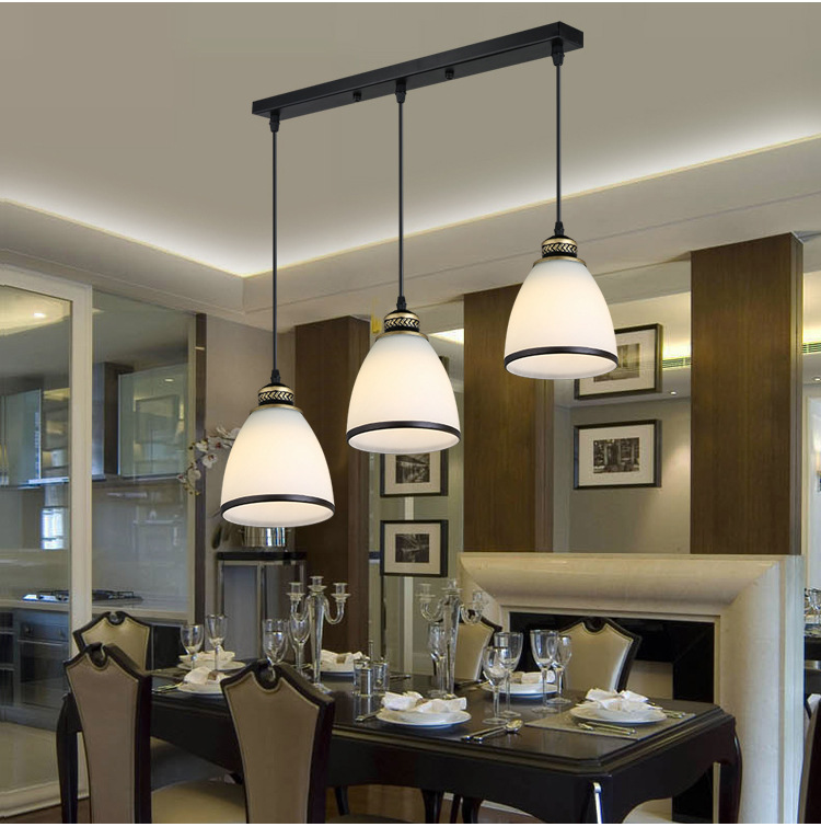 Modern Minimalist Set of 3 Kitchen Island Dining Room Glass Pendant Light (6)