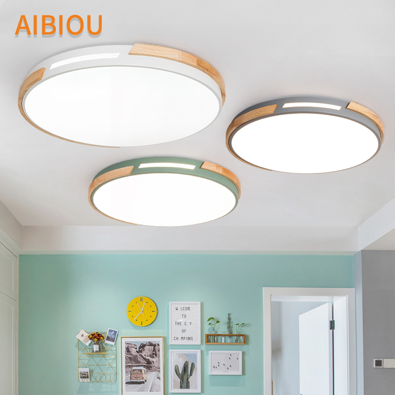 AIBIOU Round Ceiling Lights For Living Room Surface Mounted Bedroom Lamp Wood Luminaire Metal Frame Indoor Lighting Fixtures