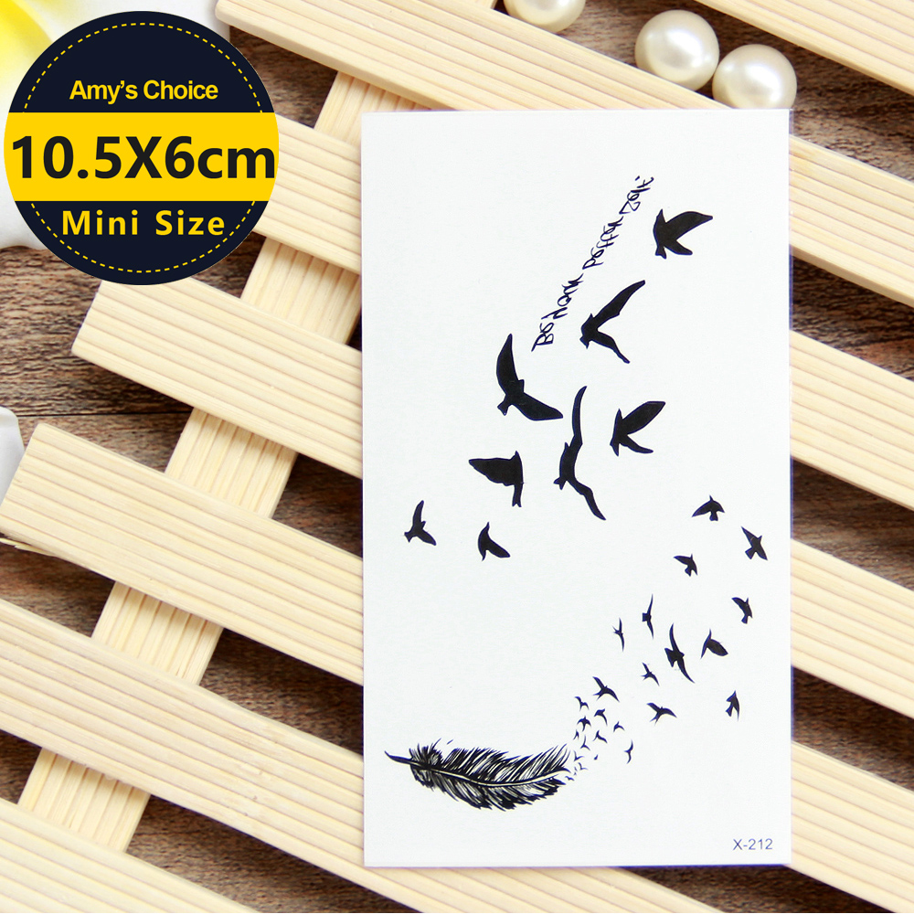 Waterproof Temporary Tattoo Sticker colorful feather tattoo fly birds tattoo small size girl Water Transfer Flash fake tattoo monochrome