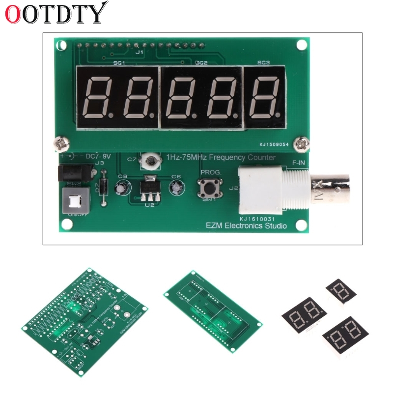 OOTDTY 1Hz-75MHz Frequency Counter 7V-9V 50mA DIY Kit Cymometer Module Tester Meter