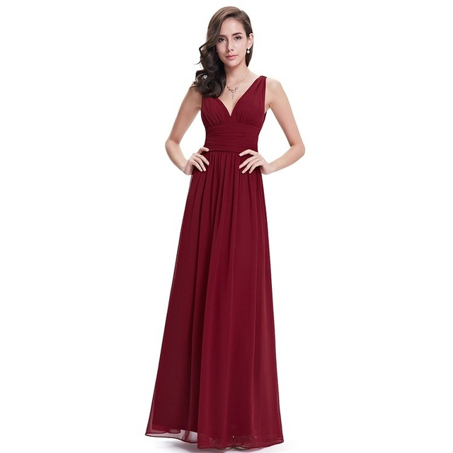 Burgundy Prom Dresses EB26109 New Elegant Plus Size A-line V-neck Chiffon  Long Wedding Guest Party Gowns 2018 4c226727e