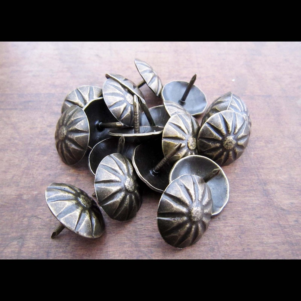 100pcs Antique Brass Upholstery Nail Jewelry Gift Wine