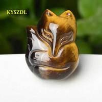 KYSZDL натуральный тигровый глаз камень Тигр spar ручной резной кулон притягивает противоположный секс кулон с лисичкой подарок ювелирные изде...