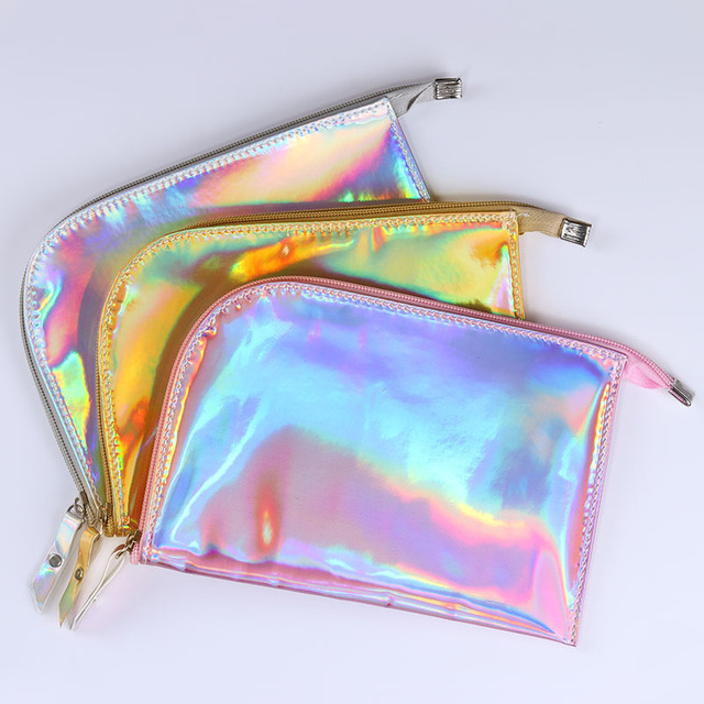 14b7824dc0 Holographic Storage Bag Cosmetic Bag Makeup Case Gold Silver Pink Toiletry  Pouch Storage Handbag Makeup Tool