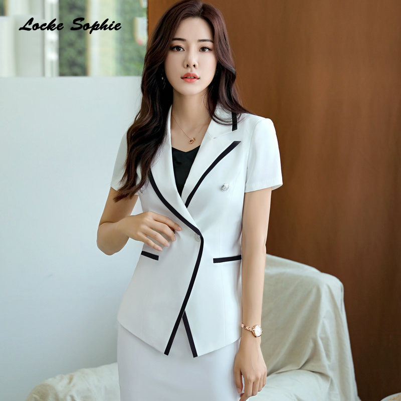 1pcs Women Plus Size Blazers Coats 2019 Summer Cotton Blend Buckle Splicing Small Suits Jackets Ladies Skinny Blazers Suits Coat