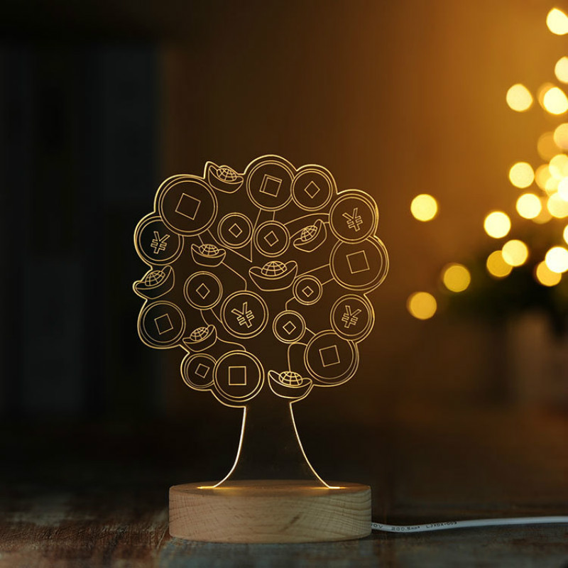 Led Night Lights Remote/dimming 3d Acrylic Led Desk Lamp Fortune Tree/ Heart Tree Shape/rose Nightlights Decoration Light Gift For Lover Iy804016