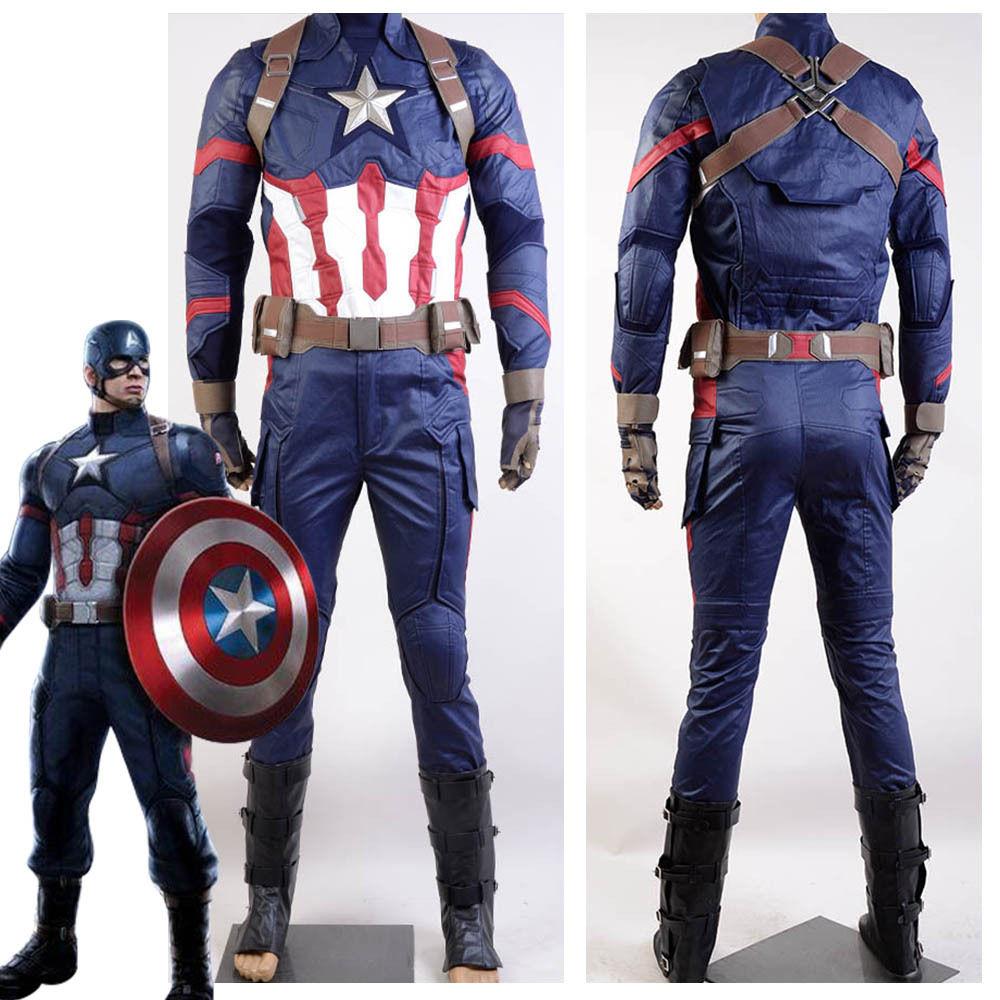 Captain America Civil War Steve Rogers Uniform Cosplay Costume For Men Halloween Cosplay Full Sets Custom