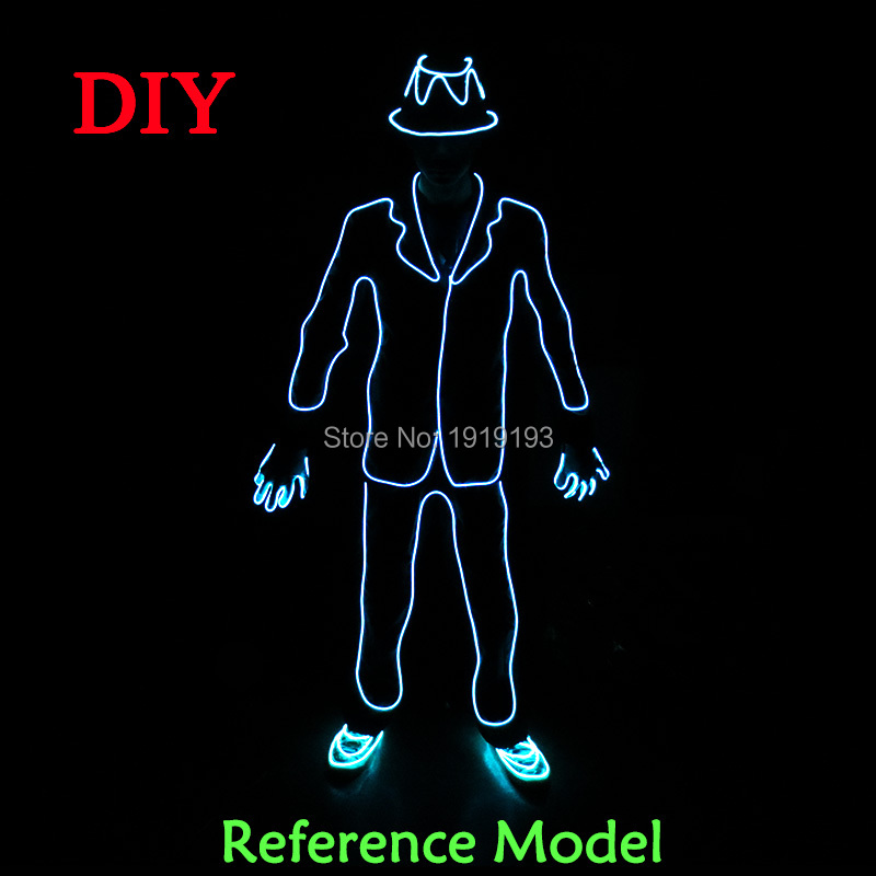 New Design Fantastic EL Wire Mike Jackson Dancer Costume Stage Lights Neon Glowing Led Strip Attractive Festival Gala Show Suit stage design 220v 1 3mm yellow gorgeous 15meters led strip neon lights 360 degree of illumination for burning man festival