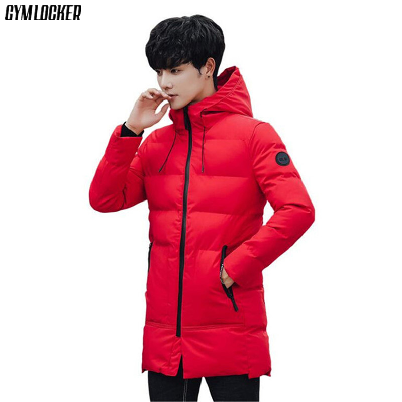 GYMLOCKER Male Coat 2018 Winter Warm Korean Style long parka Mens Thick section Windproof slim fit Hooded Casual Men
