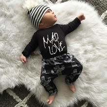 New 2016 baby boys and girls clothes cotton long sleeved t-shirt+pants newborn infant 2pcs suit baby clothing sets size 70-100