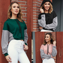 2019 Autumn Hoodies Women Color Contrast Patchwork Black Pink Sweatshirt Batwing Long Sleeve Short Hoodie Tops Pullover With Hat contrast panel batwing sleeve tee