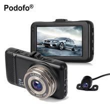Podofo 3 дюймов Двойной Объектив Автомобильные видеорегистраторы Камера Full HD 1080 P автомобиля видео регистратор тире видеокамера g-сенсор с мини заднего вида Камера