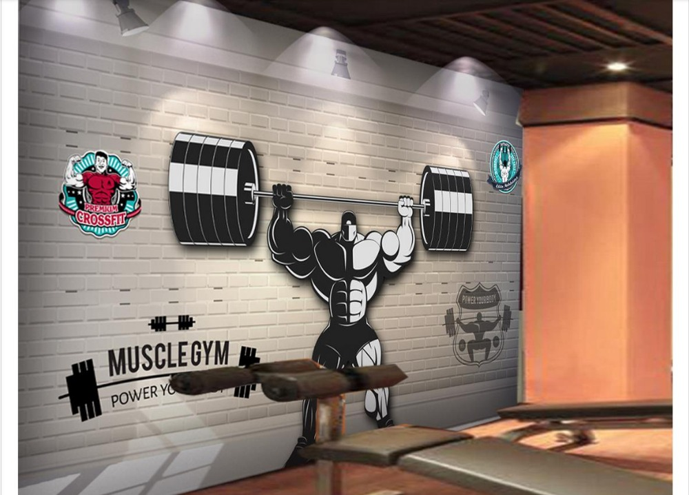 Custom Photo wallpaper 3d Gym mural wall paper 3D Gym Weightlifting Sport Sports Workwear Background Wall Painting decoration