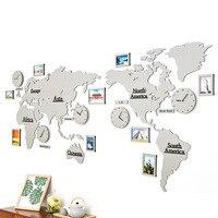 Comercio al por mayor Mandelda mundo mapa de pared moderna sala de estar telón de fondo decorativo reloj de la personalidad Americana