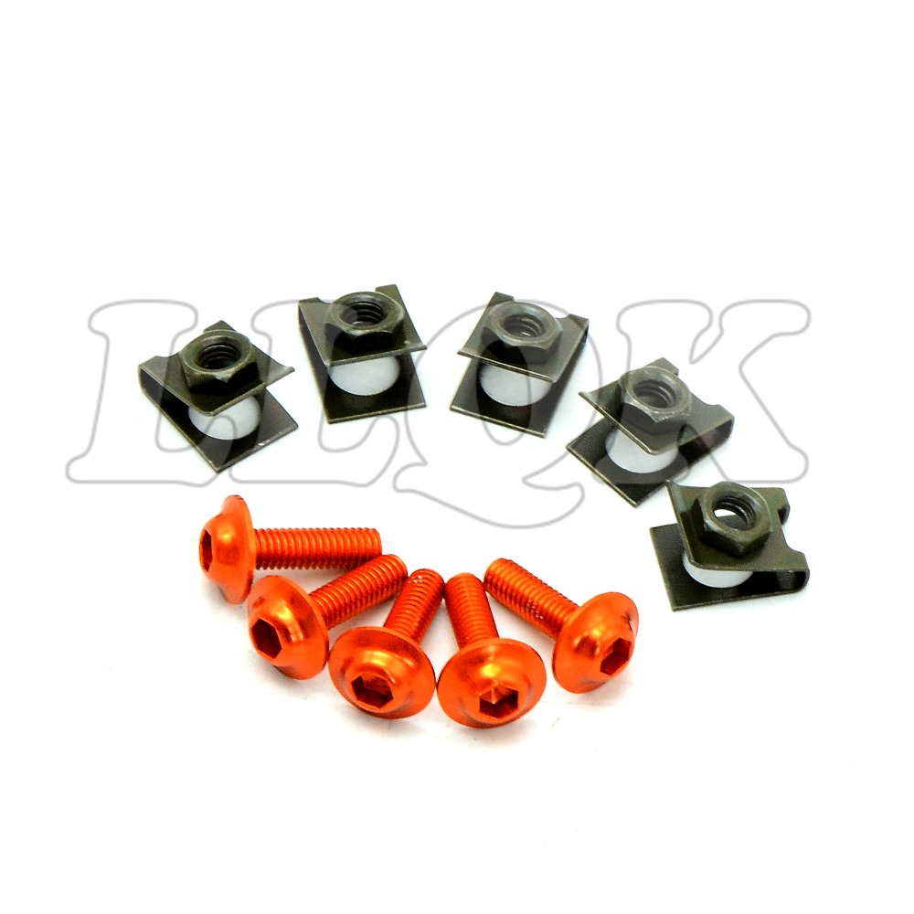 5pcs 6mm CNC Motorcycle Fairing body work Bolts Screws for KTM 1290 Super Duke R 2014-2015 KTM 950 ADVENTURES 03 04 05 06
