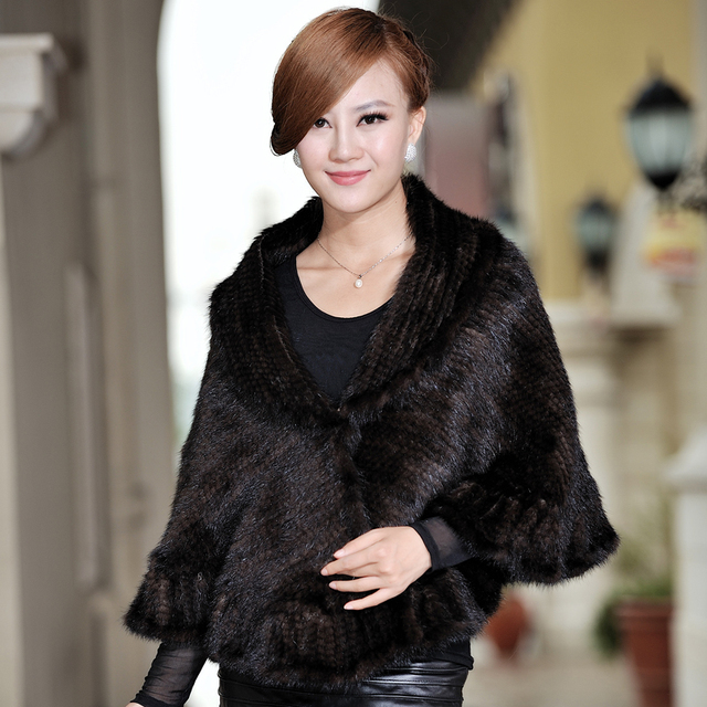 da8ee890821f4 Autumn Winter Women's Genuine Natural Knitted Mink Fur Shawl Ruffle Hem Wraps  Lady Pashmina Poncho VF0345