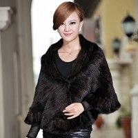 Autumn Winter Women's Genuine Natural Knitted Mink Fur Shawl Ruffle Hem Wraps Lady Pashmina Poncho VF0345