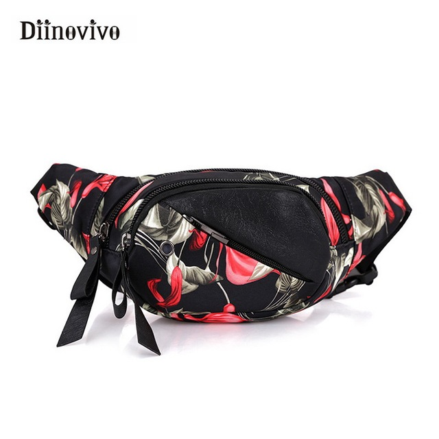 DIINOVIVO Women's Fashion Nylon Shoulder Bag Women Bags with Flowers Korean Style Bags Printing Waist Chest Bag WHDV0361