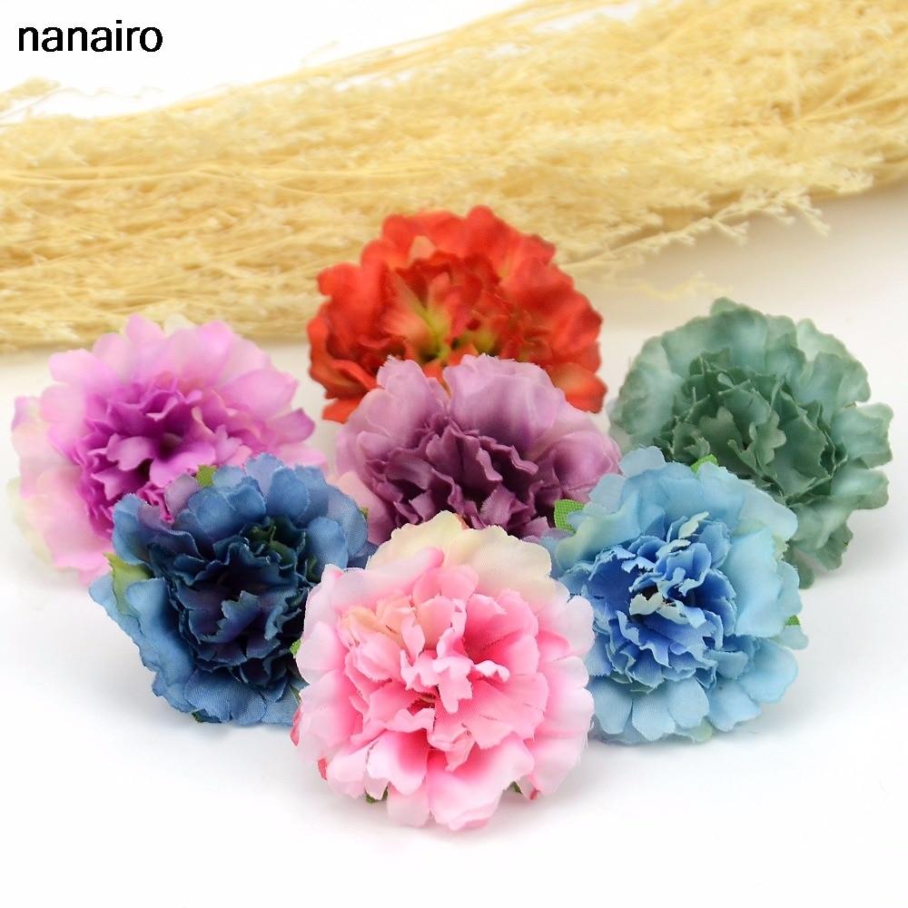 10pcs 4.5cm Cheap Artificial Silk Flower Head Fall Vivid Peony For Wedding Home Party Decoration Chrismas Gift Fake Flowers