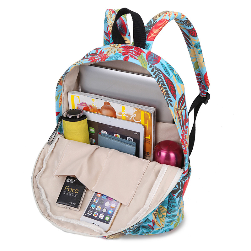 b6ec7420d8 New Canvas Backpacks For Girls Colorful Leaves Printed Women Leisure  Backpack Travel Knapsack Middle School Student School Bag-in Backpacks from  Luggage ...