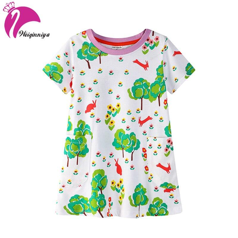 Girls Dress Girl Print A-Line Dress Kid Cartoon Pattern Dresses Kid Casual Cotton T-Shirt Summer Short Sleeve Costumes For Girls