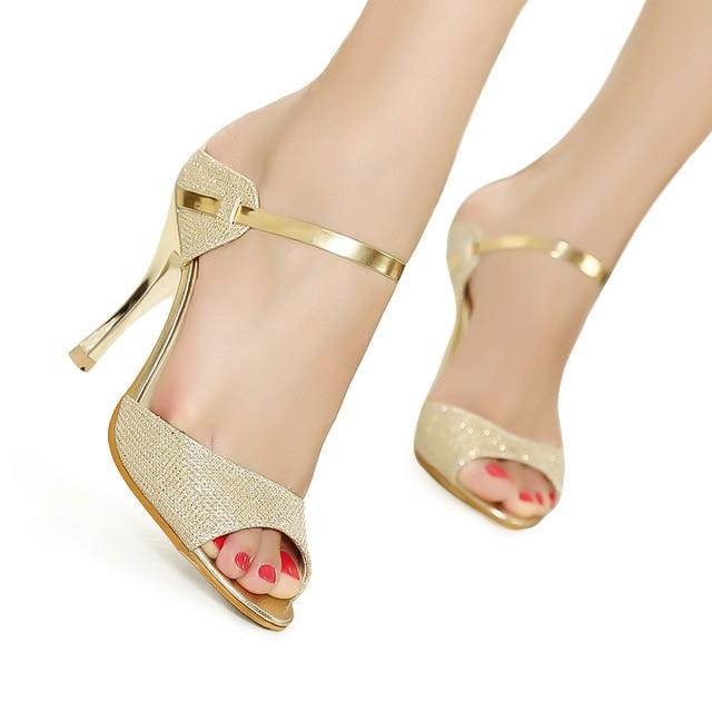 2202bdfd3dcc LAKESHI Women Sandals Gold Sliver Ankle-Wrap Women High Heels Sandals  Beautiful Ladies Sandals Summer
