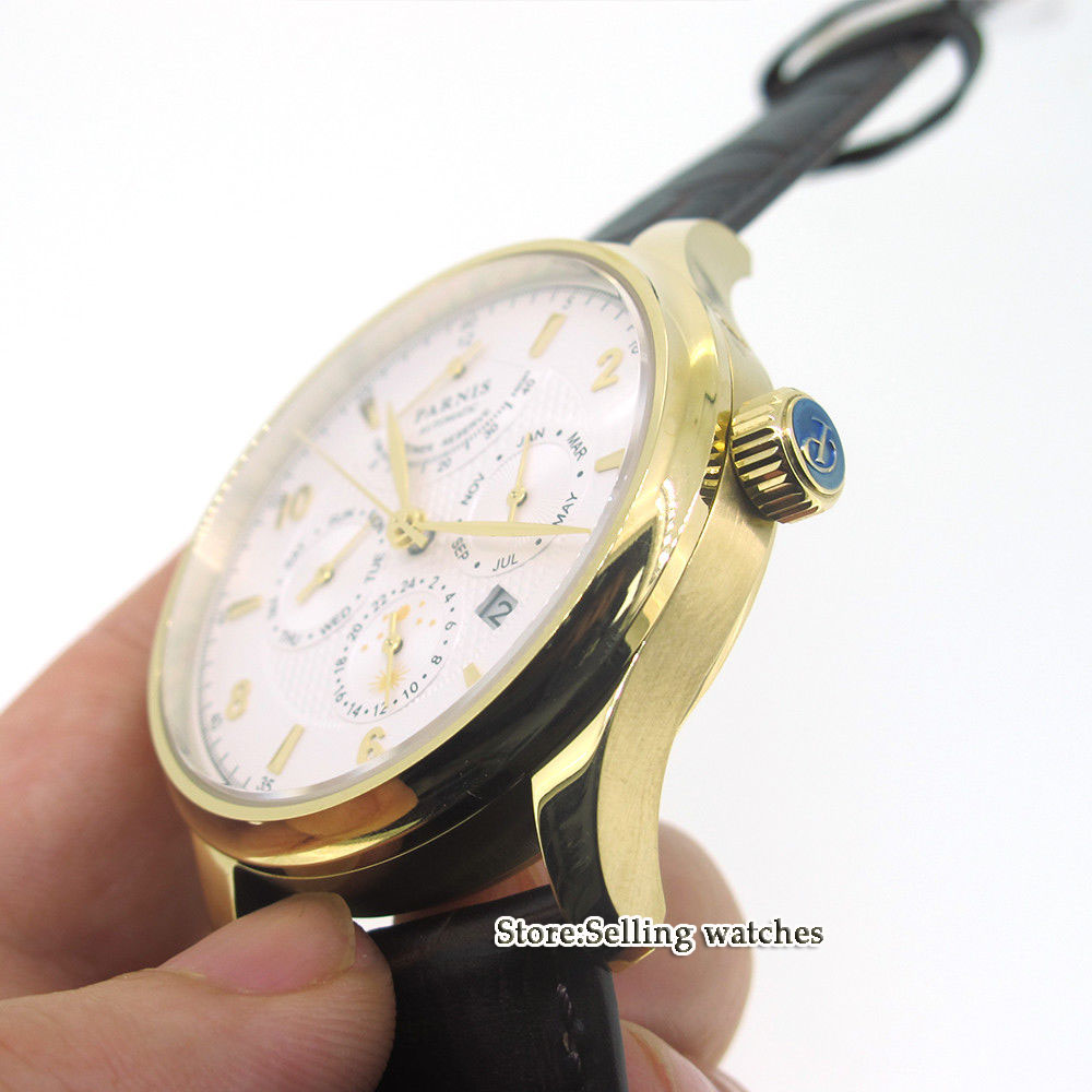 42mm parnis white dial Golden yellow case Multifunction Sapphire Glass 26 jewels miyota 9100 Automatic mens Watch