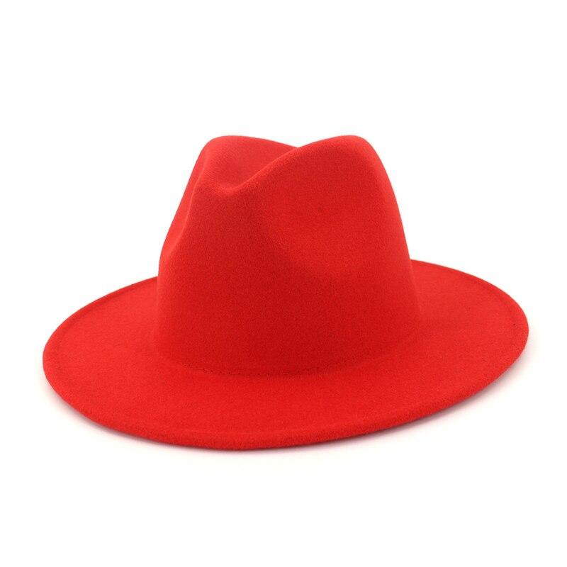 ... Solid Wool Fedoras Wide Flat Brim Jazz Felt Trilby Hats Panama Cap  Autumn Winter Formal Party ... e296c5ace125