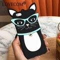 Sunglassess negro gato de dibujos animados caja del teléfono de silicona suave para el iphone 5 para iphone 5s 5c se 6 6 s 6 más 6 teléfono de nuevo la cubierta splus coque
