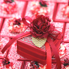 50psc/lot Wedding Favors Original Manual Custom Red Party Joyful Box Character of Creative Quality 6.5×6.5x4cm