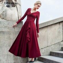 2016 new women maxi dress slim waist patchwork female long sleeve v-neck solid collar big size long swing dress