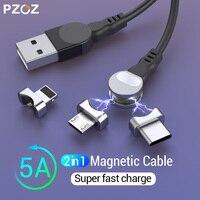 PZOZ 2 в 1 вращающийся магнитный USB кабель для iPhone XS Max XR X 8 Быстрая зарядка зарядное устройство Micro USB кабель 2 в 1 телефон usb type c