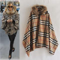 high quality New coming winter hoodies Lady Plaids Checks Wool blend Fur Hooded women's coat cloak Poncho Parka cape