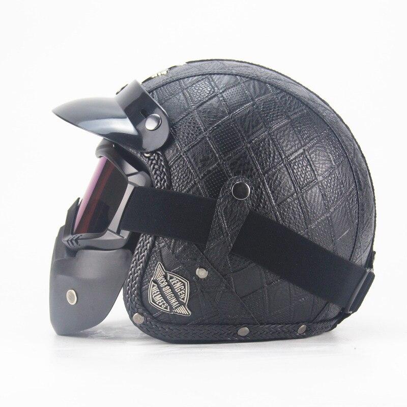 3/4 Adult Leather Harley Helmets Motorcycle Helmet Chopper Bike open face vintage motorcycle helmet motocros wi9th goggle mask