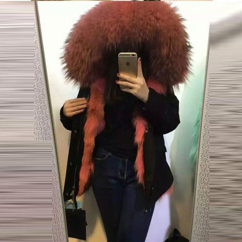 Rose rouge loup doublure à capuche fourrure pardessus chaud naturel fourrure Parkas Long réel fourrure pardessus véritable femmes naturel fourrure vêtements
