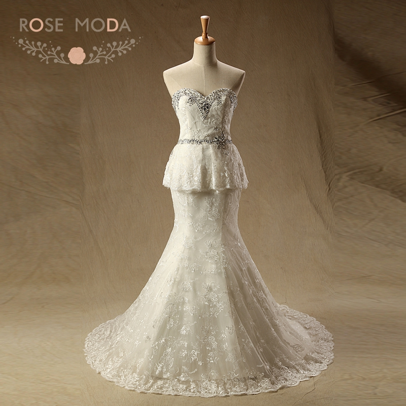 Rose Moda Mermaid Wedding Dress Lace Peplum Wedding Dresses Real Photos