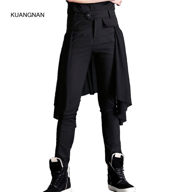 a80d9ac3b Men Fashion Show Pant Casual Black Boots Long Trousers Male Splice Skirt  Pant Punk Rock Style Stage Costumes