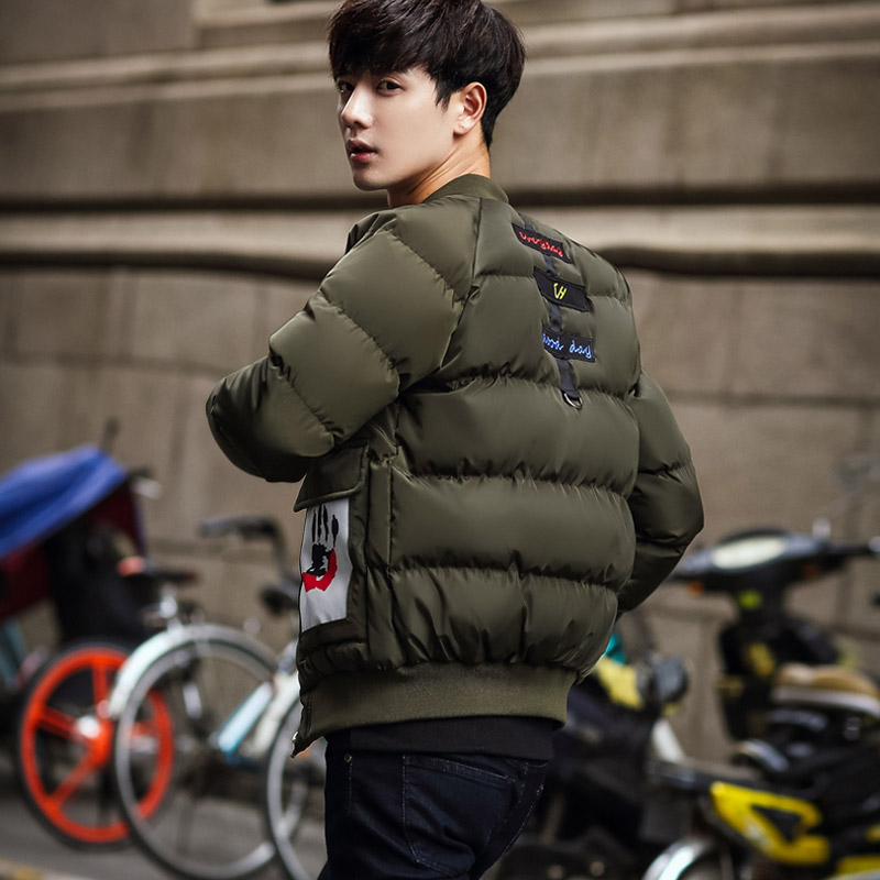 Aberdeen baseball winter coat collar size down cotton thickened young men students short cotton padded jacket.