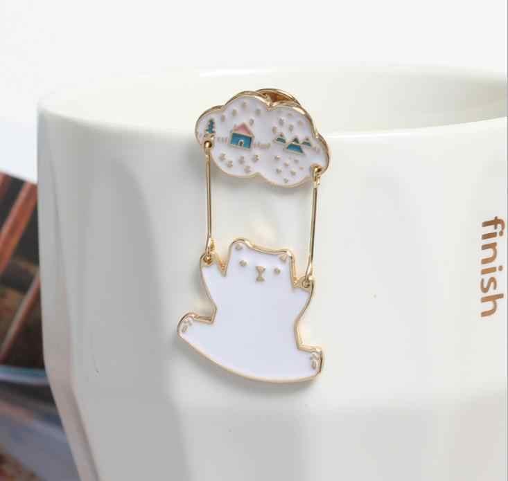 Бесплатная доставка мультфильм аниме личность животное белый медведь сумка декоративная брошь булавка для женщин