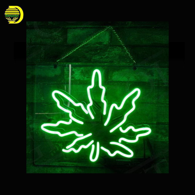 Neon Sign Green Hemp Glass Tubes Neon Bulb Signboard lighted signs custom made neon electronic neon light with plastic board