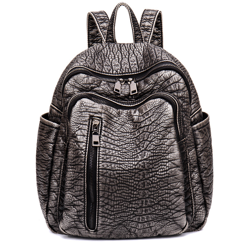 ФОТО Fashion Crocodile Leather Shoulder Bag 2016 New Simple Small Backpack Leisure Travel Bag Ladies