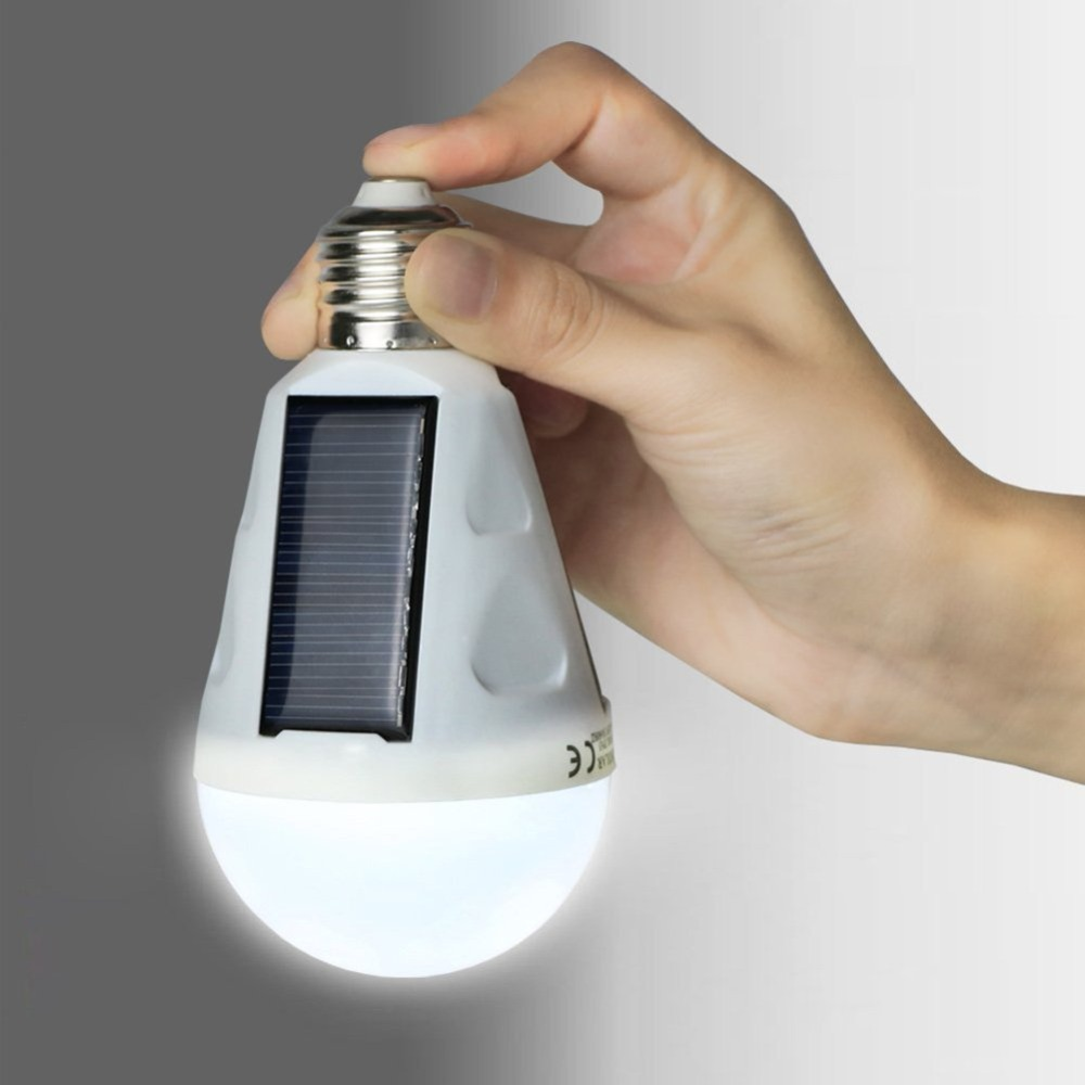 720LM E27 Solar LED Light Bulb, 12W Portable Rechargeable Lights Lamp for Indoor & Outdoor