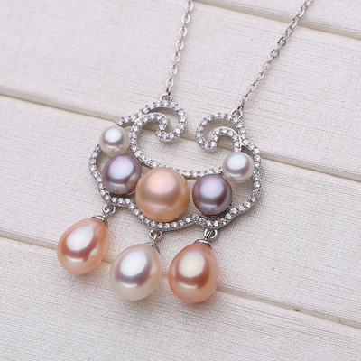 S925 silver freshwater pearl pendant collarbone necklace children's safety long life lock stylish women's sweater chain faux pearl beaded pendant sweater chain