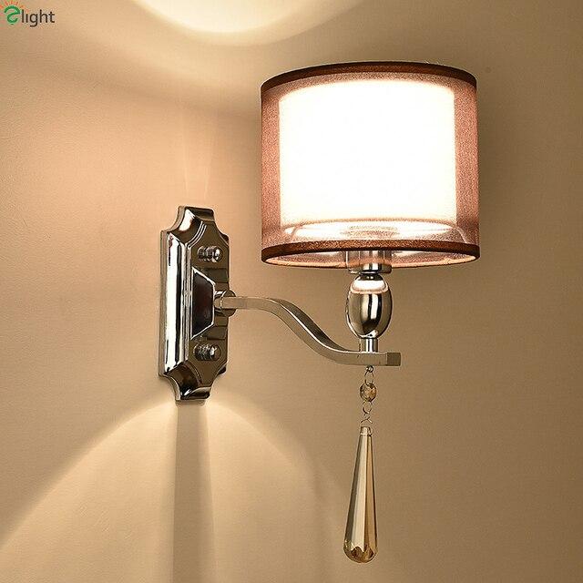 Modern Chrome Metal Led Wall Lights Crystal Bedroom Led Wall Lamp ...