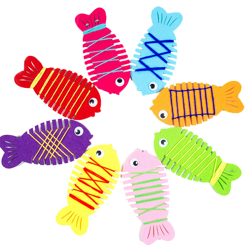 5 Pcs/Lot Kindergarten Wrapped Threading Wear Line Fish Manual Game Puzzle Early Learning Education Toys Funny Teaching Aid