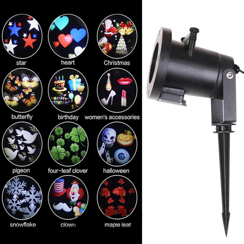 ФОТО Christmas LED Projector Lights Decoration Motion Rotating Spotlight Landscapes Outdoor (12pcs Switchable Pattern Lens )